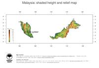 #3 Map Malaysia: color-coded topography, shaded relief, country borders and capital