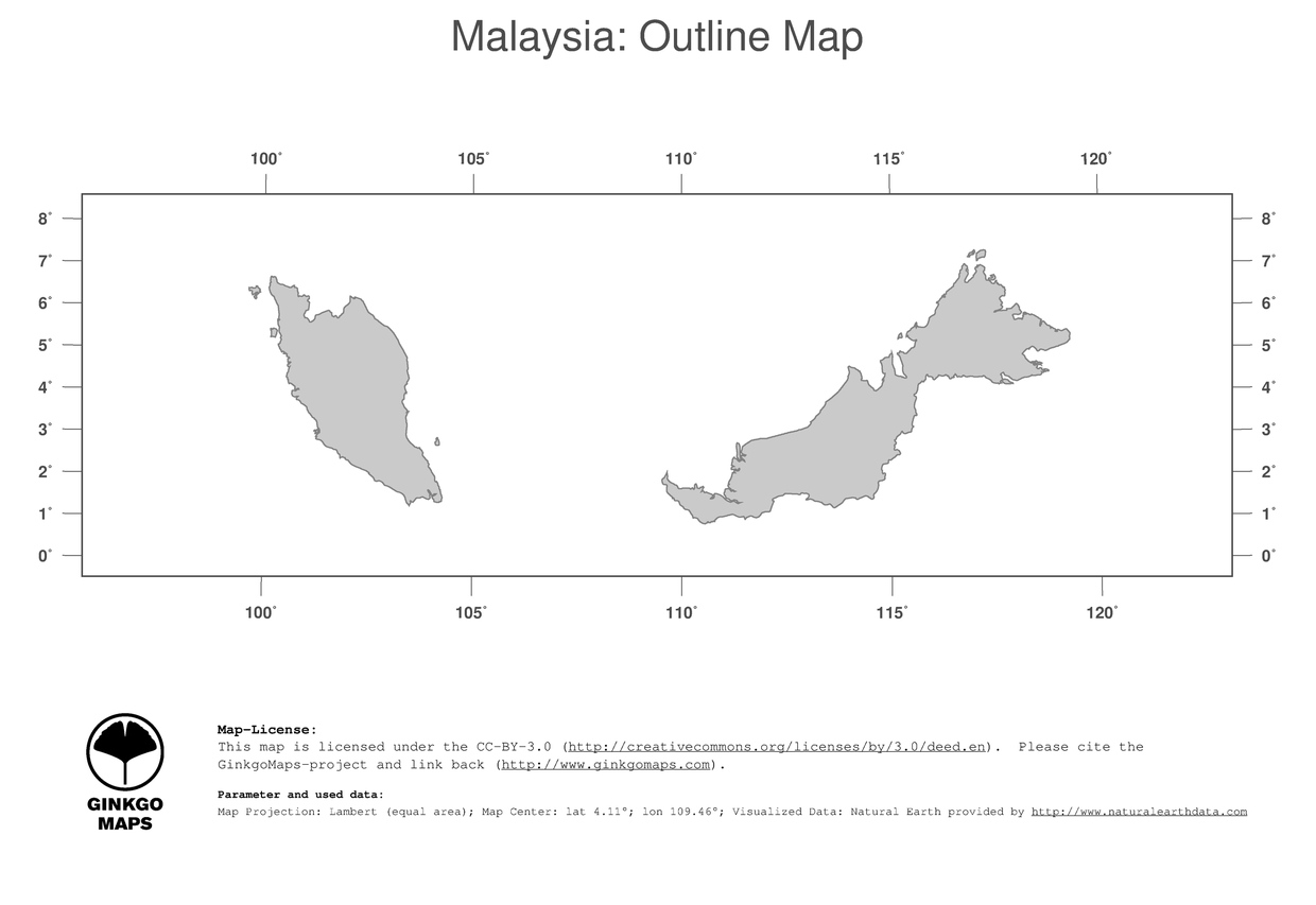 Map Malaysia GinkgoMaps continent Asia region Malaysia