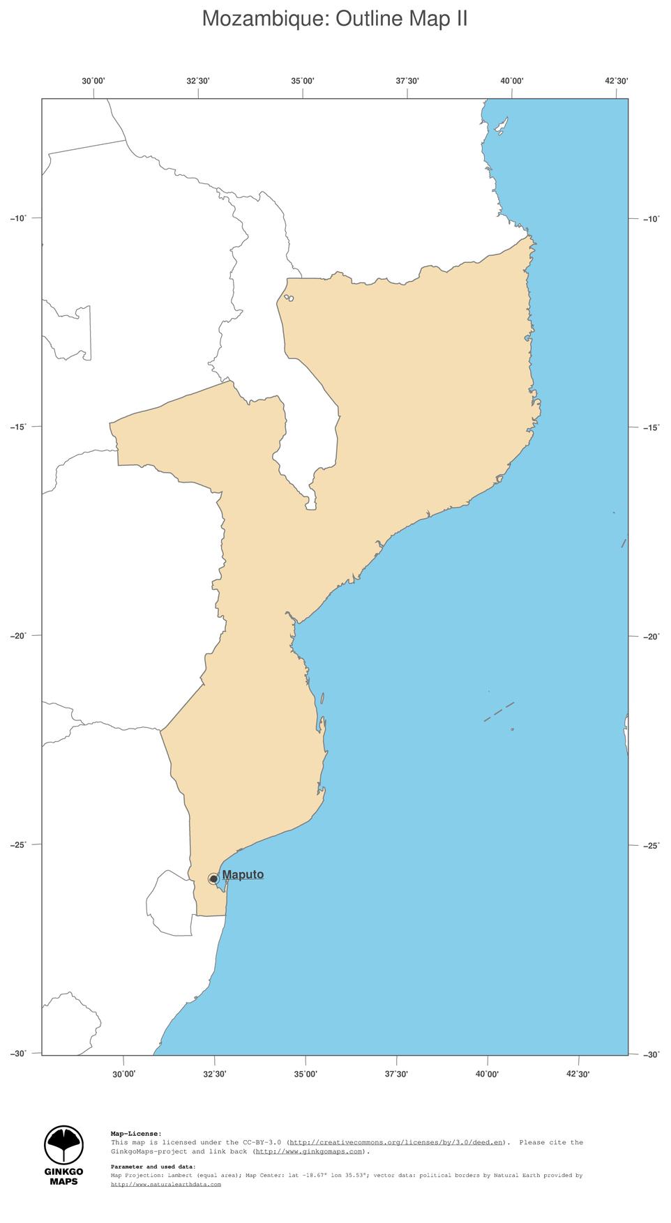 Mozambique Map Outline