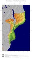 #5 Map Mozambique: color-coded topography, shaded relief, country borders and capital