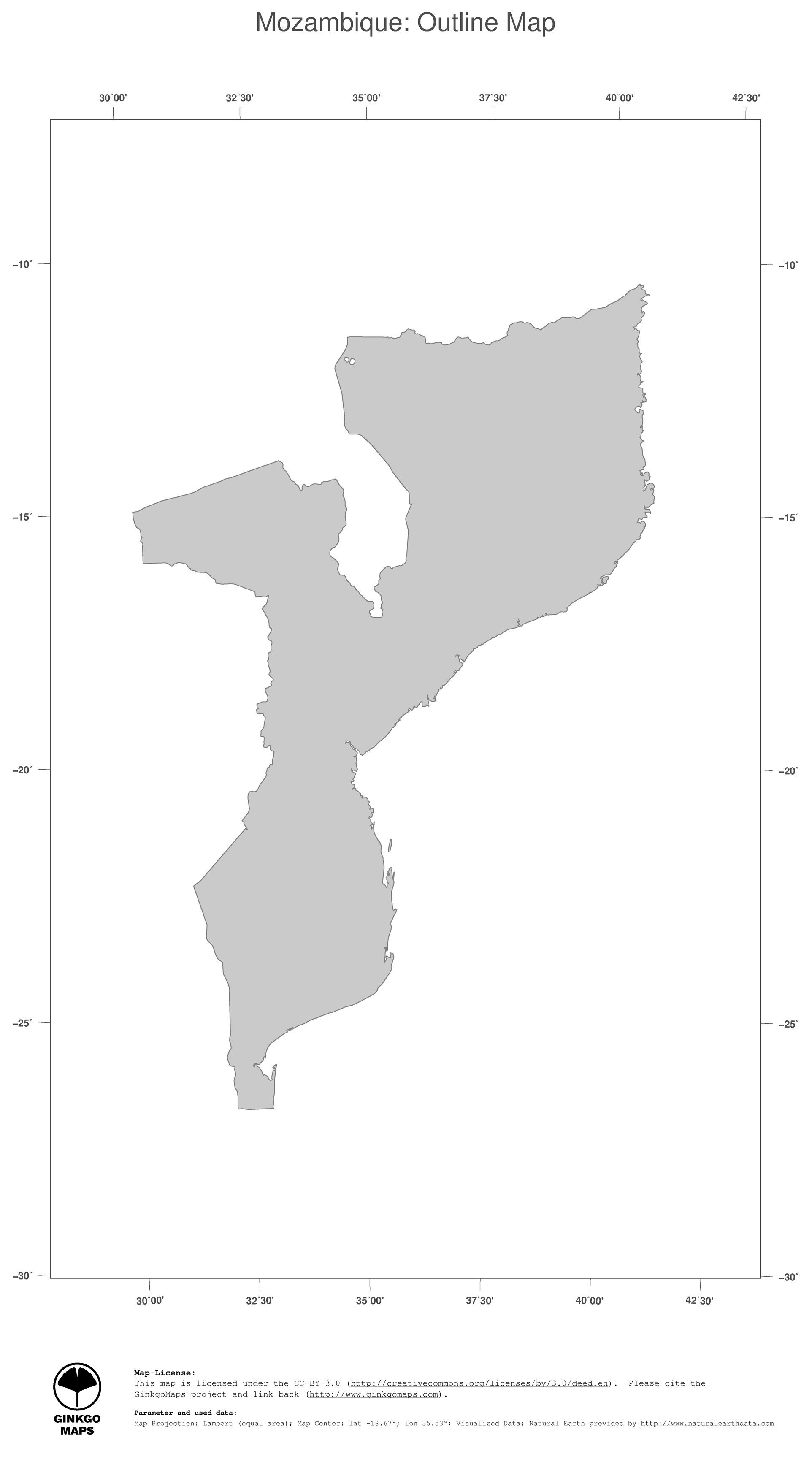 Map Mozambique GinkgoMaps continent Africa region Mozambique