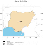 #2 Map Nigeria: political country borders and capital (outline map)
