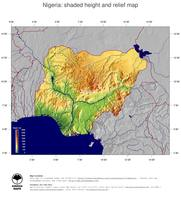 #5 Map Nigeria: color-coded topography, shaded relief, country borders and capital
