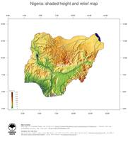 #3 Map Nigeria: color-coded topography, shaded relief, country borders and capital