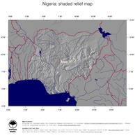 #4 Map Nigeria: shaded relief, country borders and capital