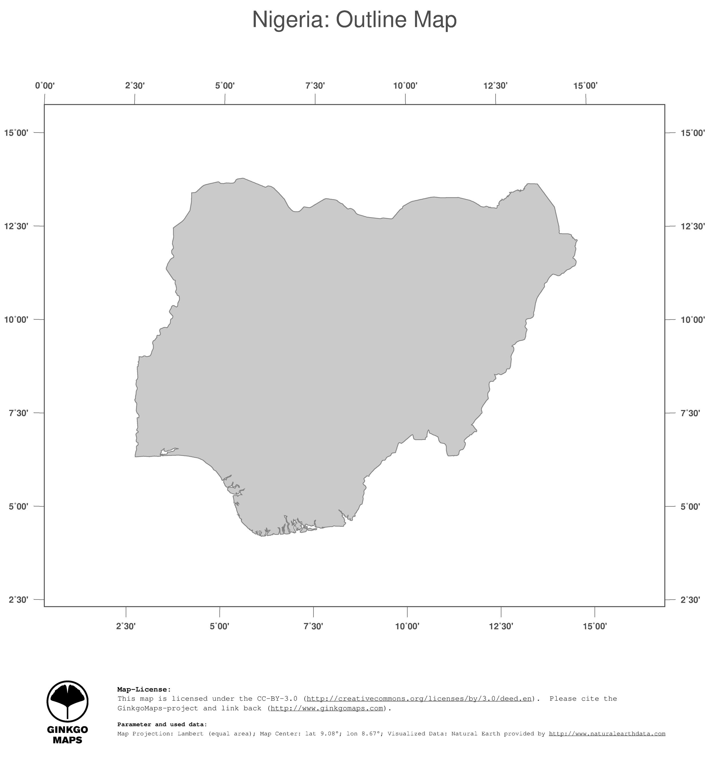 Africa Map Nigeria.Map Nigeria Ginkgomaps Continent Africa Region Nigeria