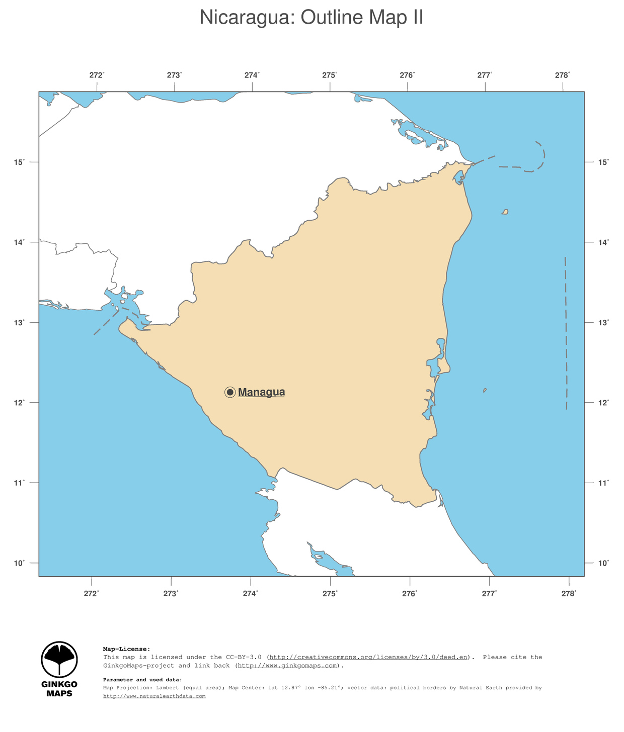 Map Nicaragua GinkgoMaps Continent South America Region Nicaragua - Country map of nicaragua