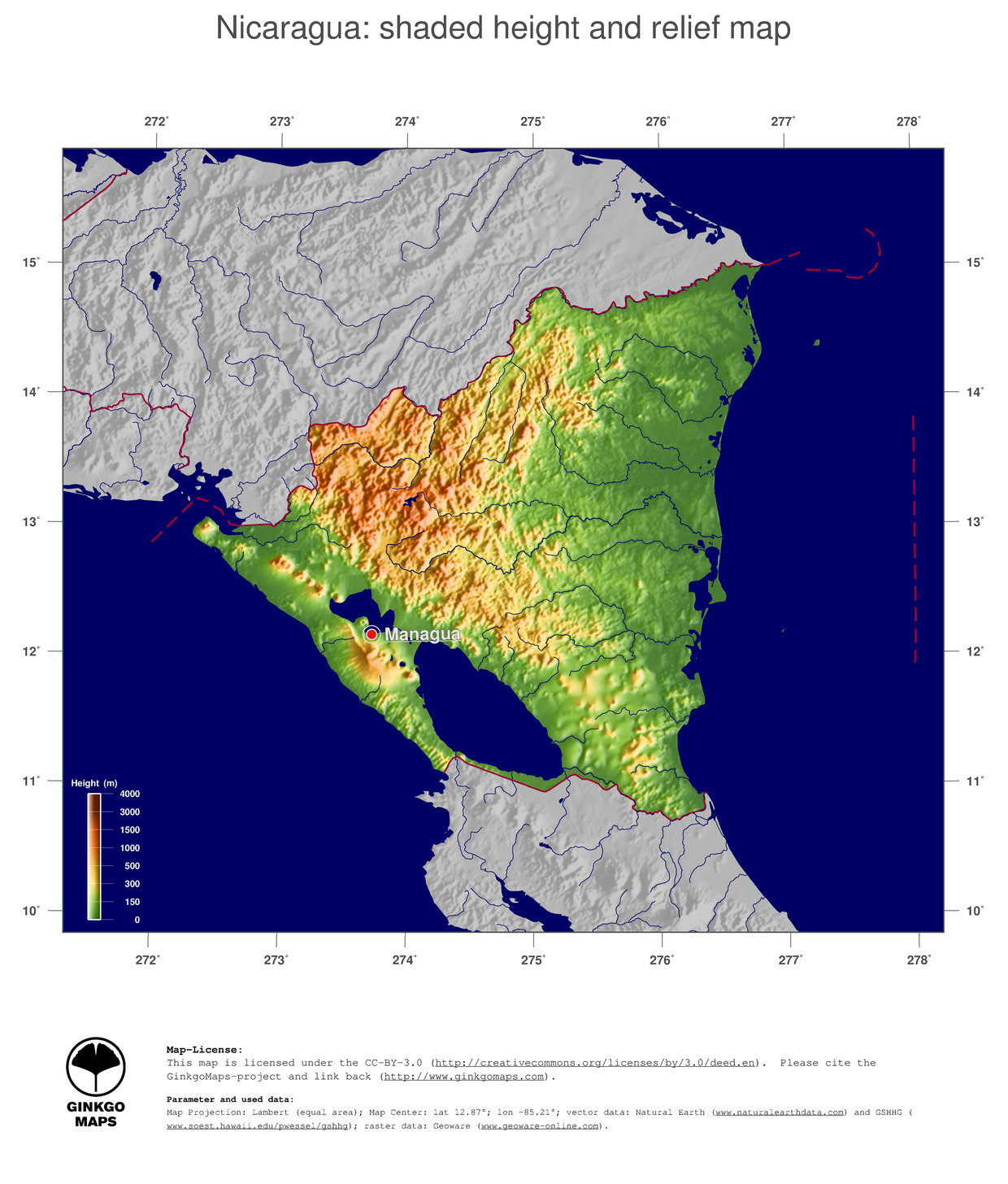Map Nicaragua GinkgoMaps Continent South America Region Nicaragua - Nicaragua map hd