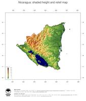 #3 Map Nicaragua: color-coded topography, shaded relief, country borders and capital