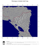 #4 Map Nicaragua: shaded relief, country borders and capital