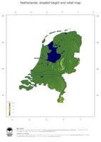 #3 Map Netherlands: color-coded topography, shaded relief, country borders and capital