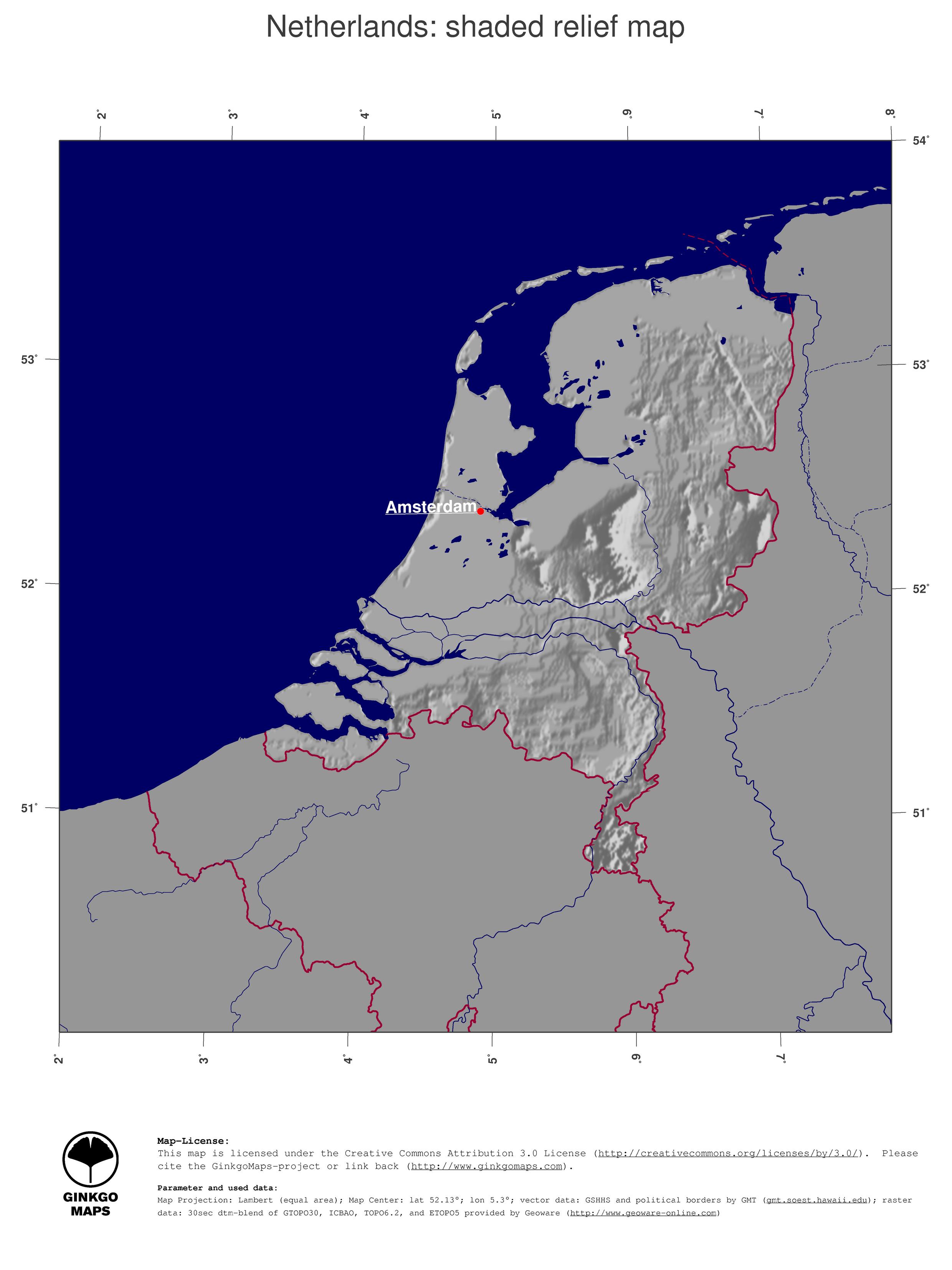 Map Netherlands GinkgoMaps continent Europe region Netherlands