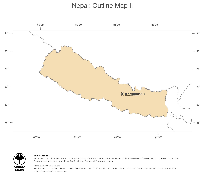 Map Nepal; GinkgoMaps continent: Asia; region: Nepal