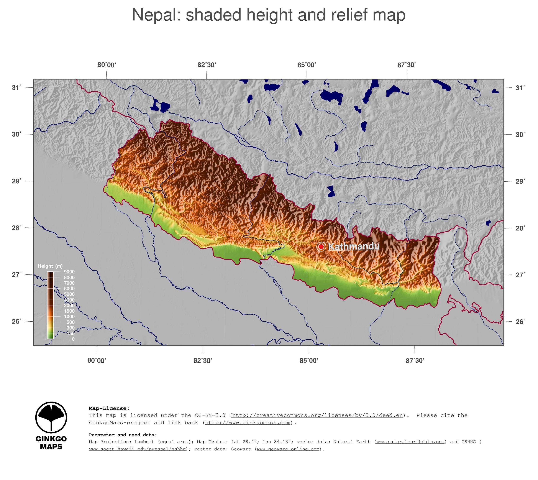 Map Nepal GinkgoMaps continent Asia region Nepal