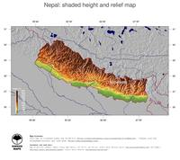 #5 Map Nepal: color-coded topography, shaded relief, country borders and capital