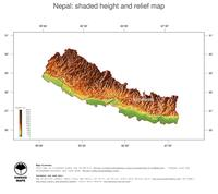 #3 Map Nepal: color-coded topography, shaded relief, country borders and capital