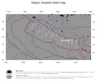 #4 Map Nepal: shaded relief, country borders and capital