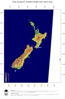 #5 Map New Zealand: color-coded topography, shaded relief, country borders and capital