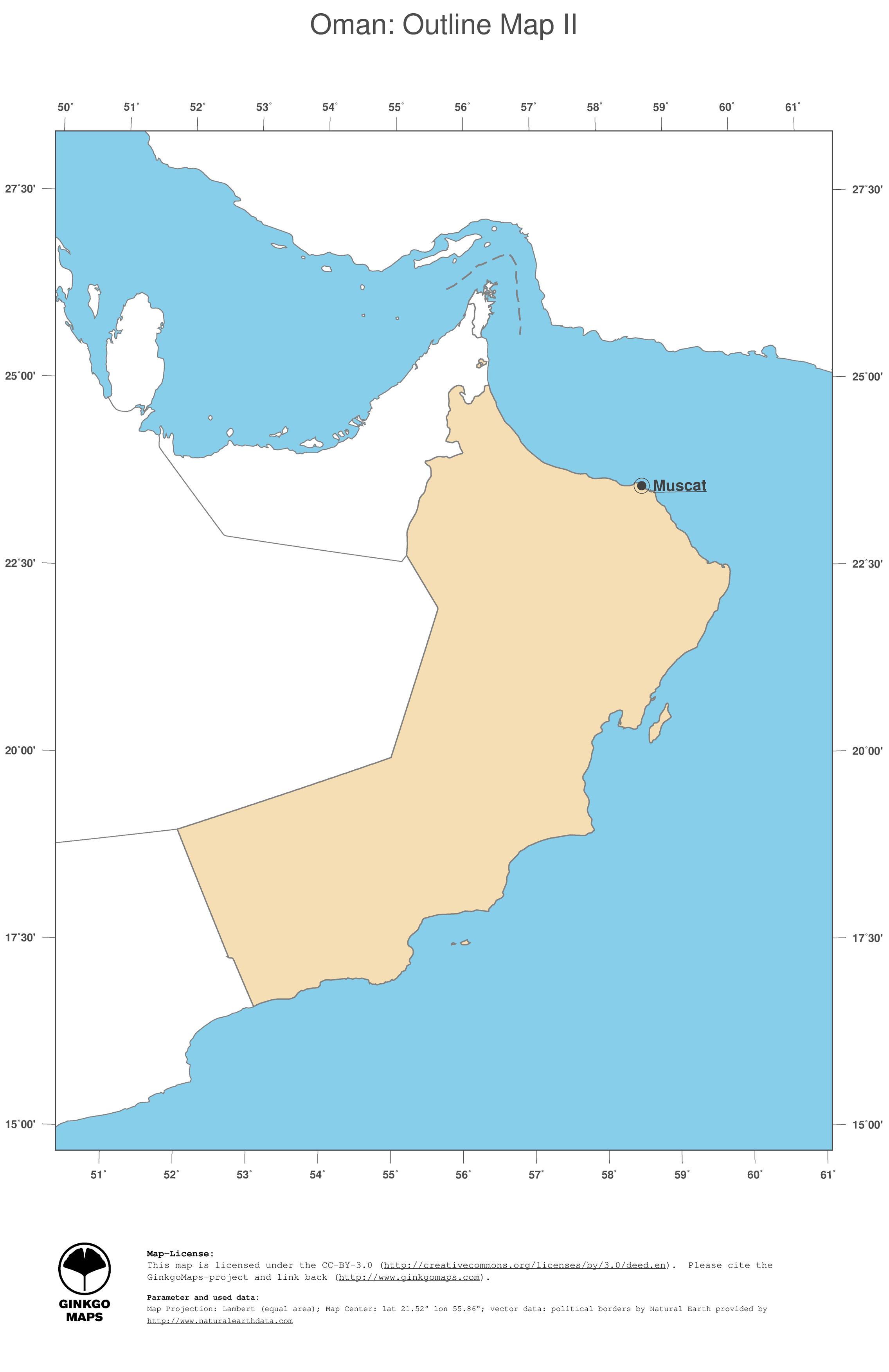 Map Oman GinkgoMaps continent Asia region Oman