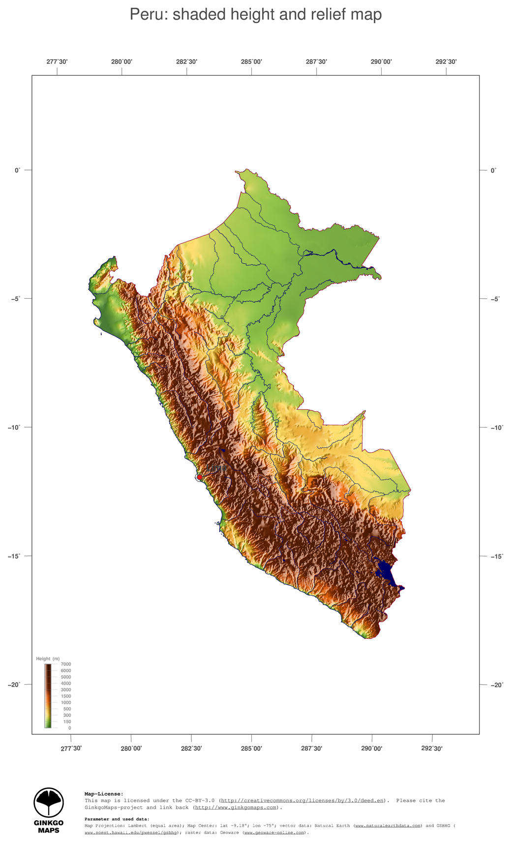 Map Peru GinkgoMaps Continent South America Region Peru - South america relief map peru