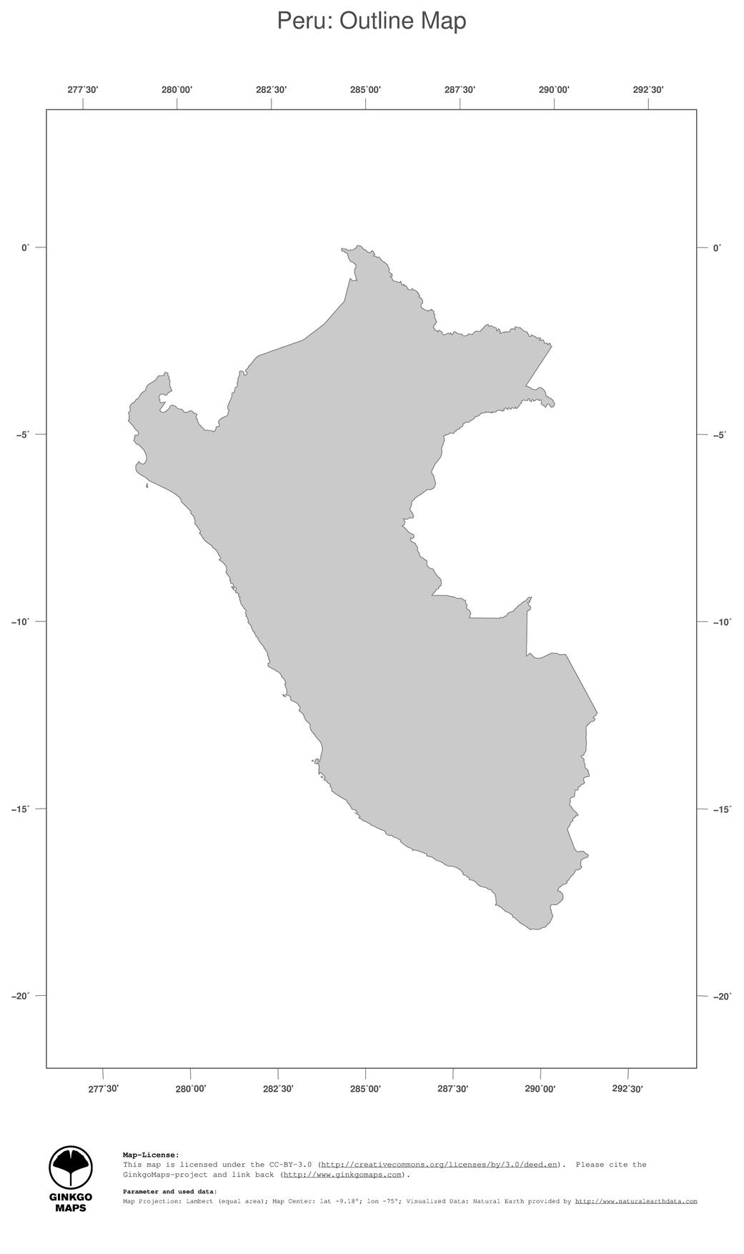 Map Peru GinkgoMaps continent South America region Peru
