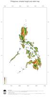 #3 Map Philippines: color-coded topography, shaded relief, country borders and capital