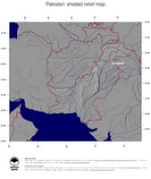 #4 Map Pakistan: shaded relief, country borders and capital