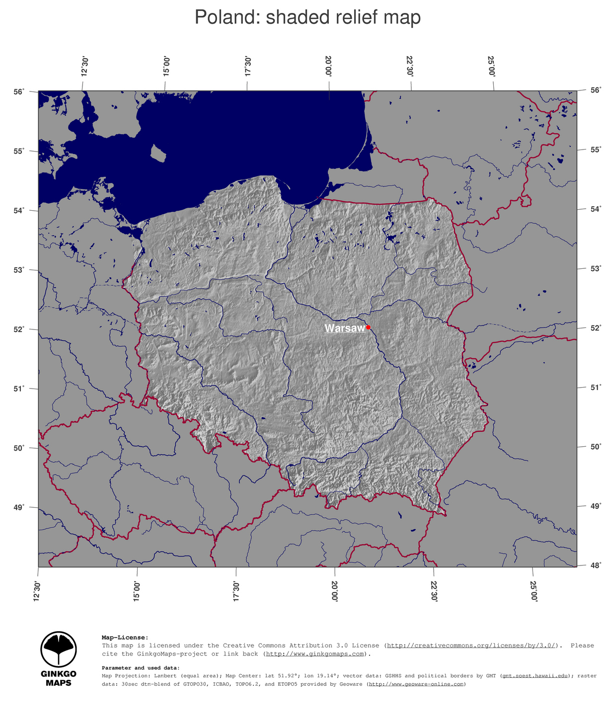 Capital Of Poland Map.Map Poland Ginkgomaps Continent Europe Region Poland