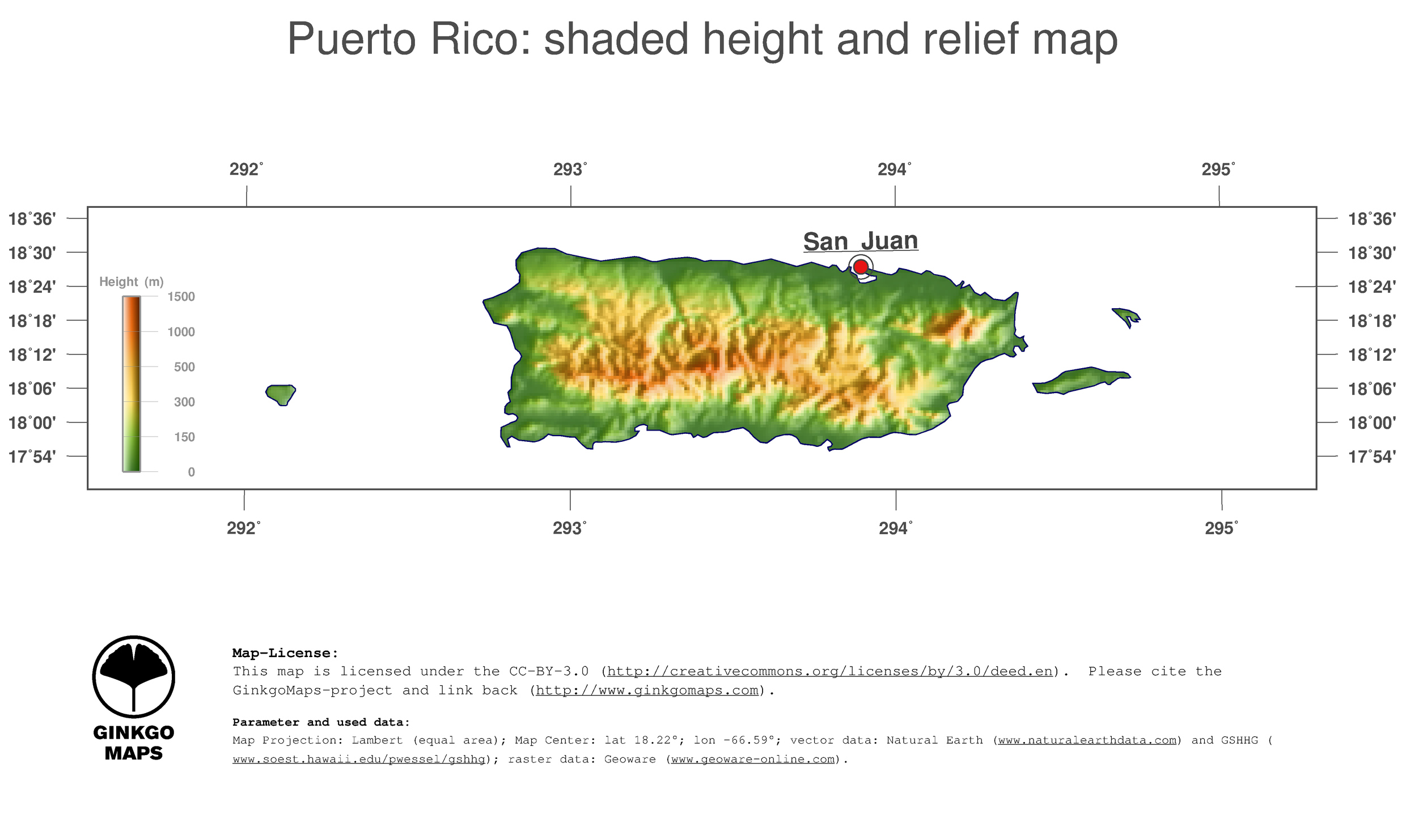 Map Puerto Rico GinkgoMaps continent South America region Puerto