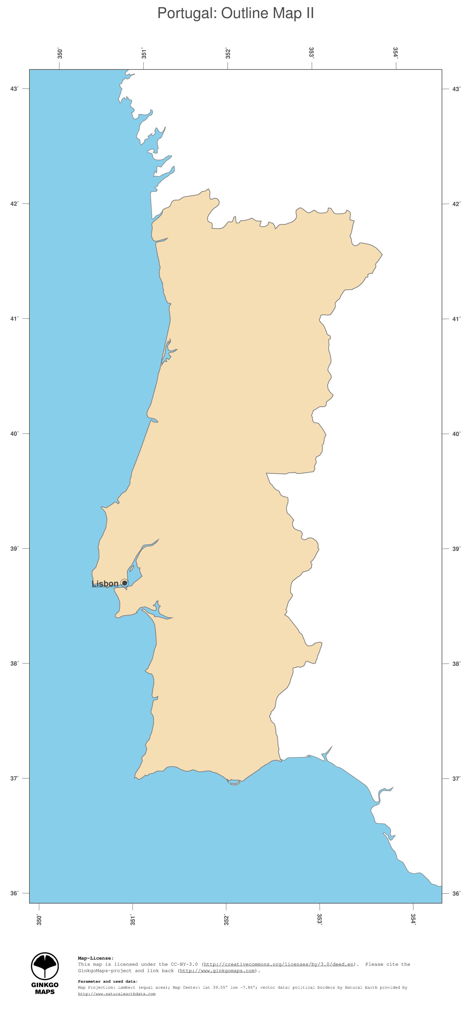 Map Portugal GinkgoMaps Continent Europe Region Portugal - Portugal map jpg
