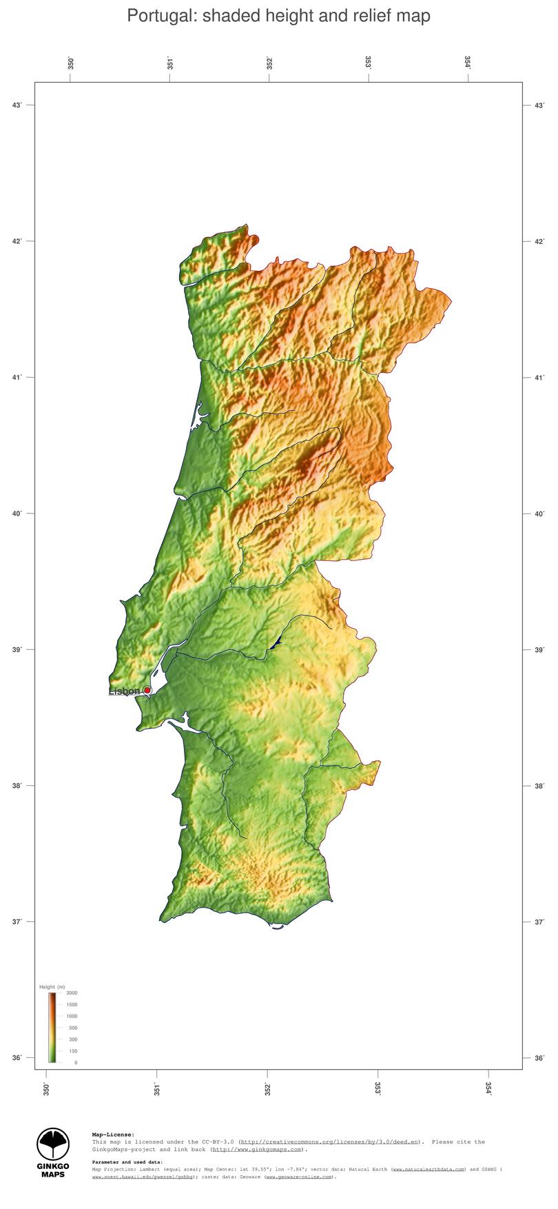 Map Portugal GinkgoMaps continent Europe region Portugal