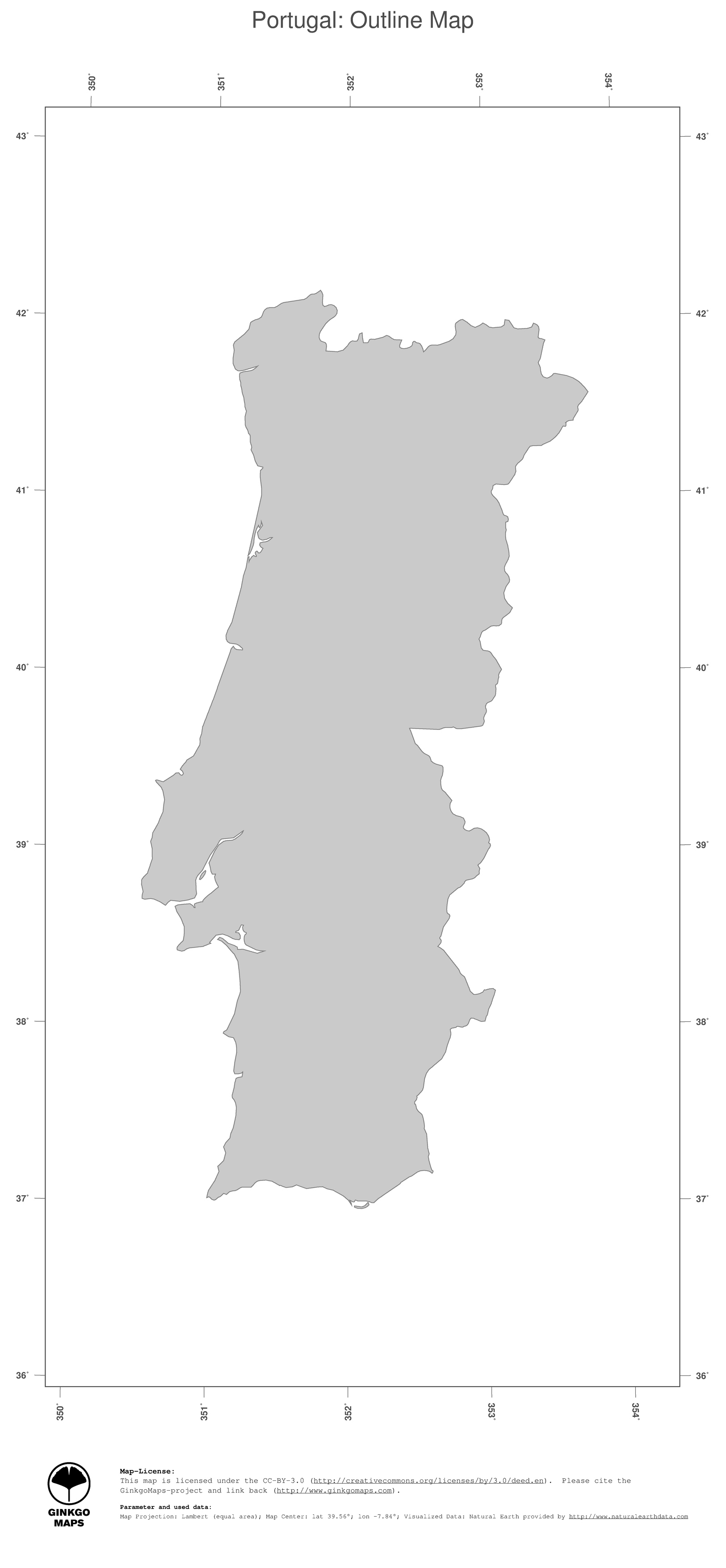 Map Portugal GinkgoMaps Continent Europe Region Portugal - Portugal map black and white