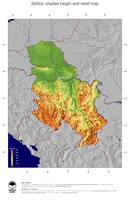 #4 Map Serbia: color-coded topography, shaded relief, country borders and capital