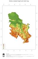 #3 Map Serbia: color-coded topography, shaded relief, country borders and capital