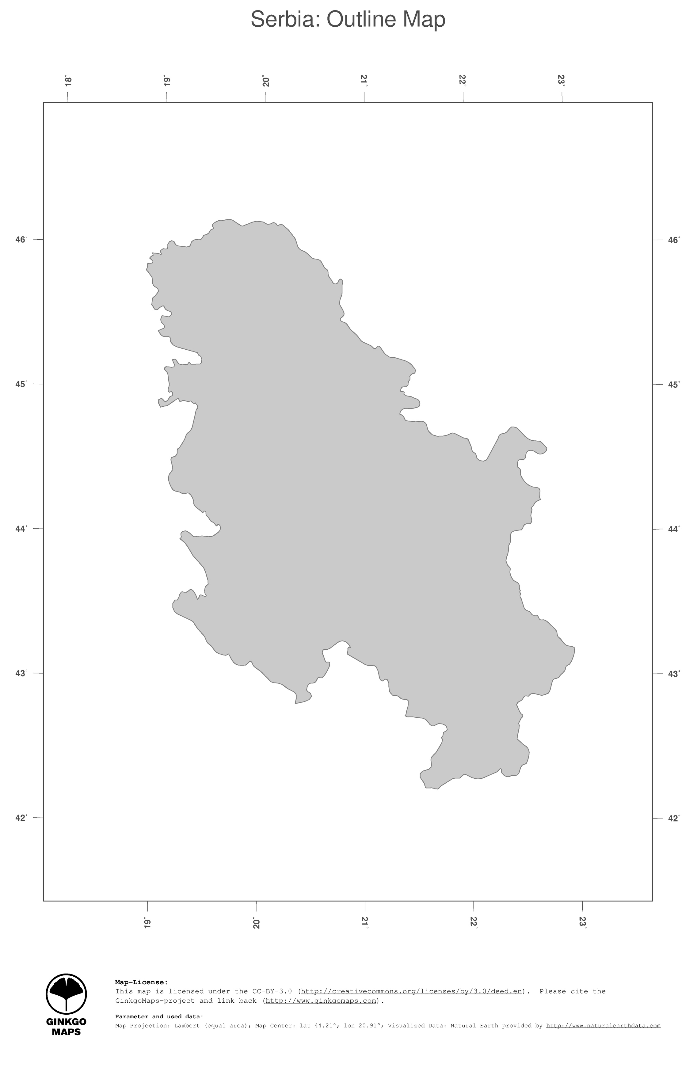 Map Serbia GinkgoMaps continent Europe region Serbia