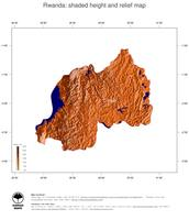 #3 Map Rwanda: color-coded topography, shaded relief, country borders and capital
