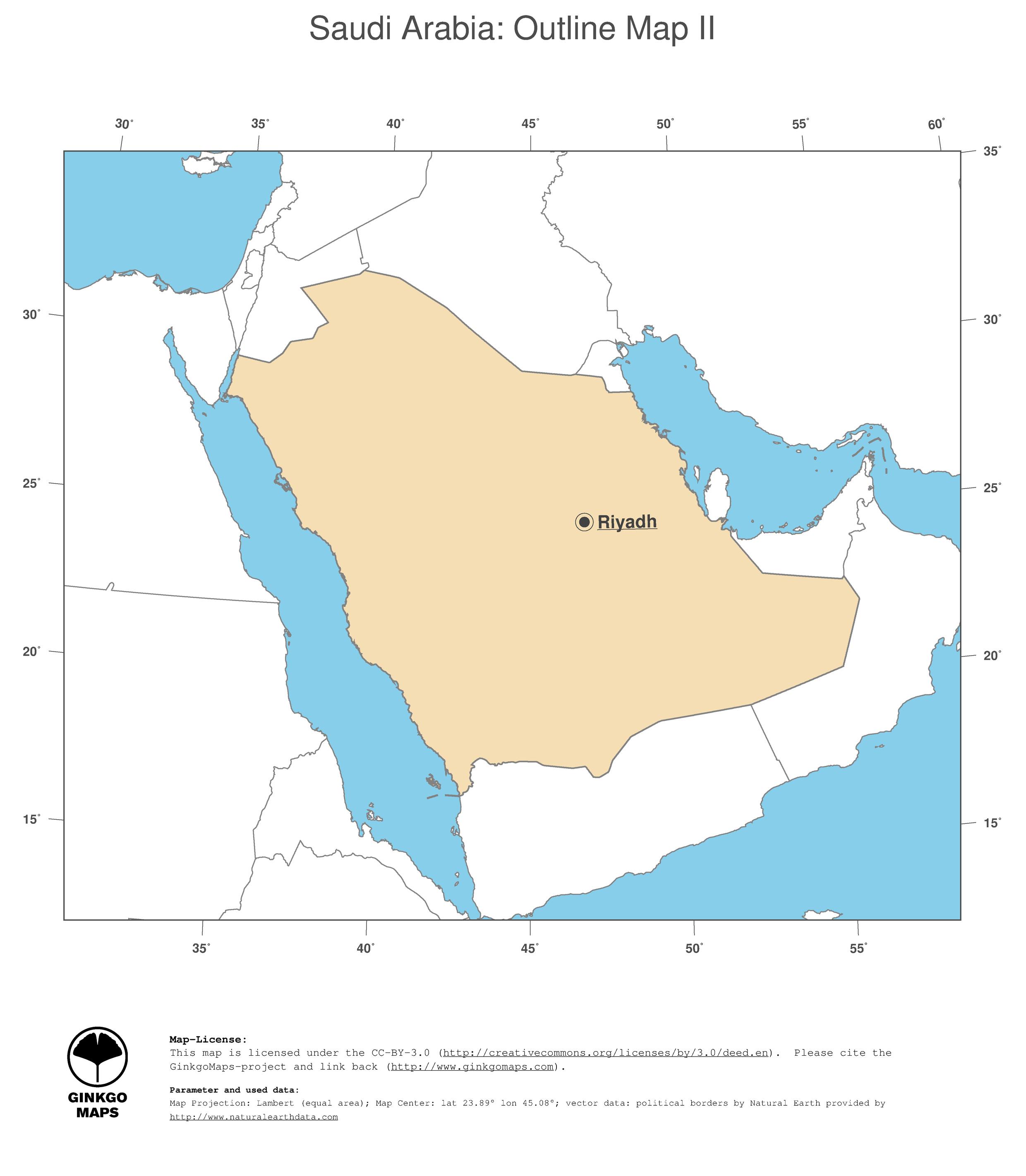 Map Saudi Arabia GinkgoMaps continent Asia region Saudi Arabia