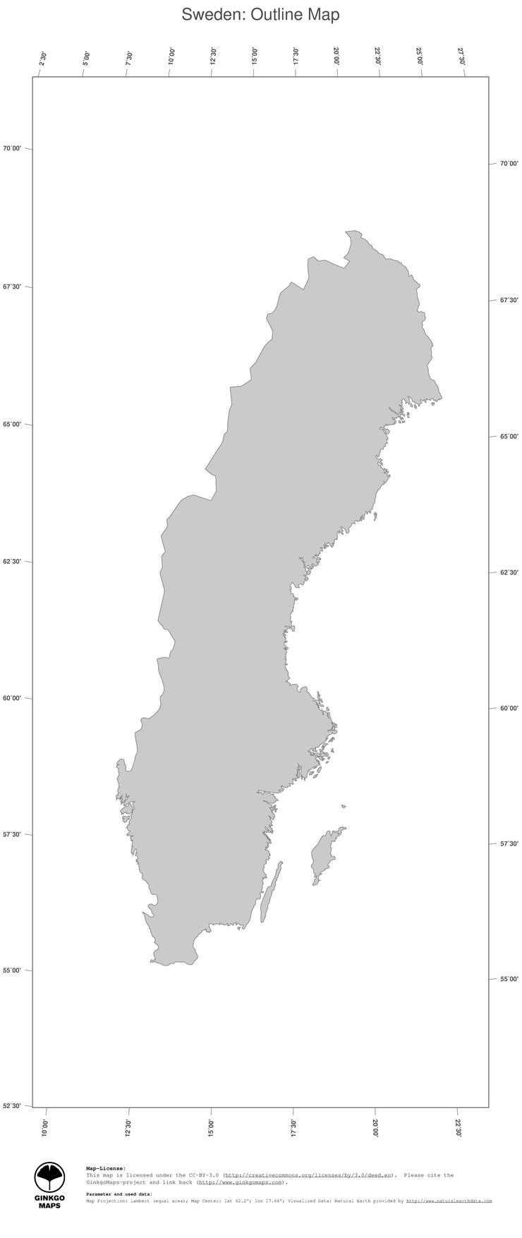 Map Sweden GinkgoMaps Continent Europe Region Sweden - Sweden map of country
