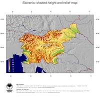 #5 Map Slovenia: color-coded topography, shaded relief, country borders and capital