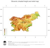 #3 Map Slovenia: color-coded topography, shaded relief, country borders and capital