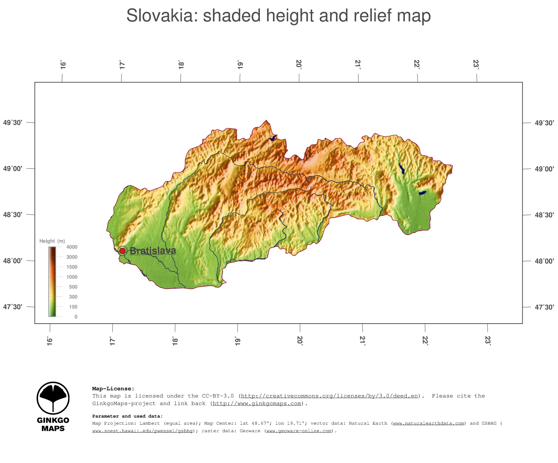 Map Slovakia GinkgoMaps continent Europe region Slovakia