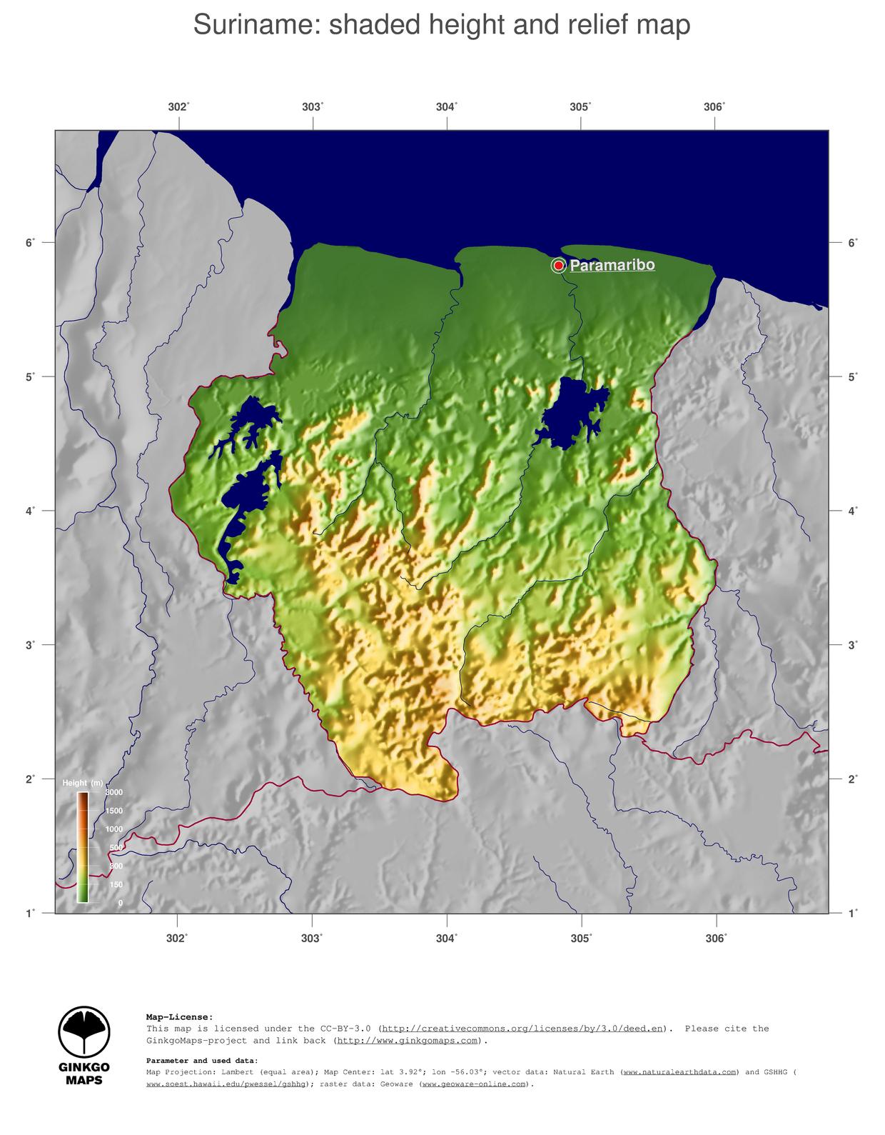 Map Suriname GinkgoMaps Continent South America Region Suriname - Suriname map