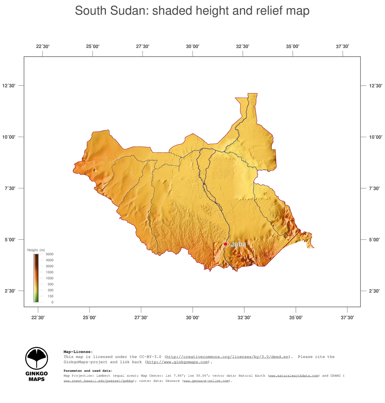 Map South Sudan: color-coded topography, shaded relief, country ...