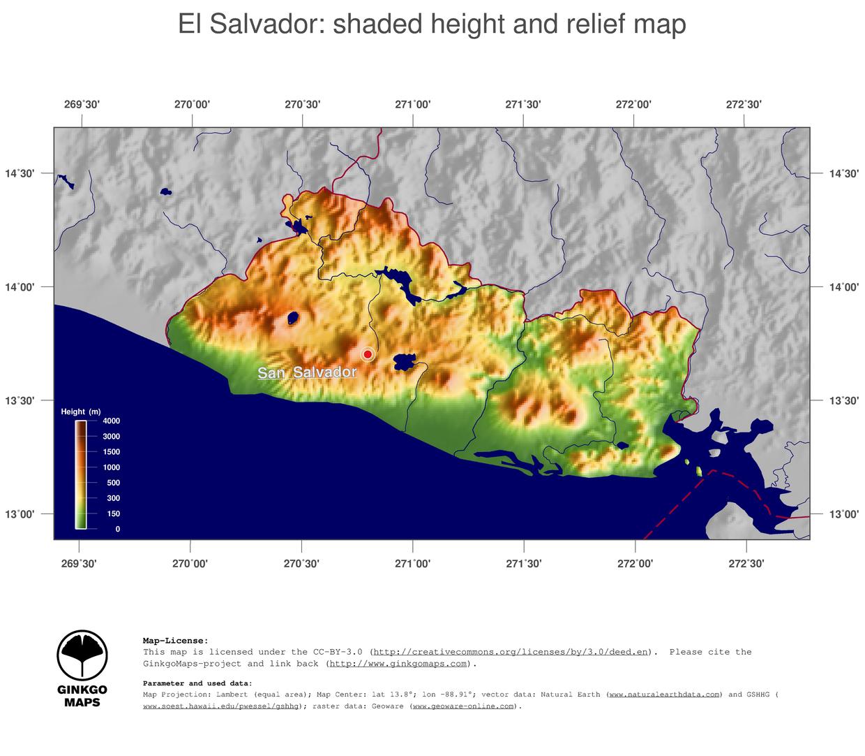 Map El Salvador GinkgoMaps Continent South America Region El - Map of el salvador