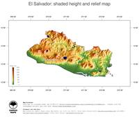 #3 Map El Salvador: color-coded topography, shaded relief, country borders and capital