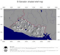 #4 Map El Salvador: shaded relief, country borders and capital