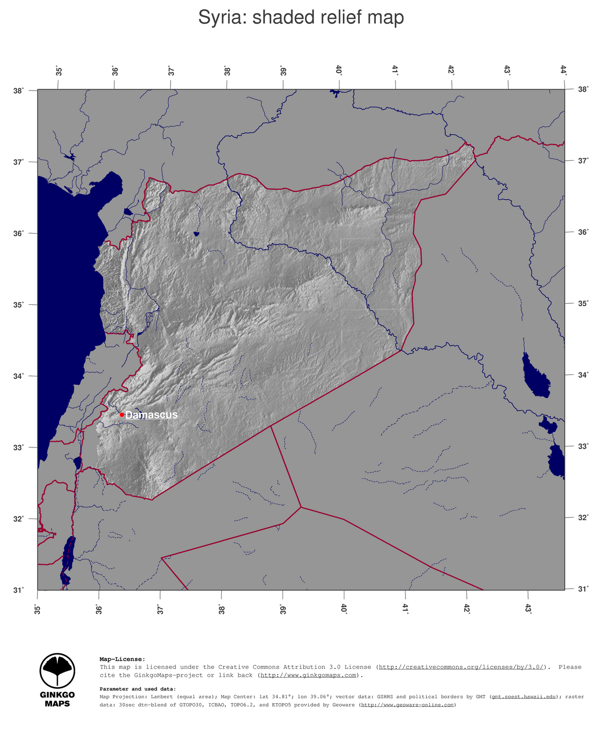 Map Syria GinkgoMaps Continent Asia Region Syria - What continent is syria in