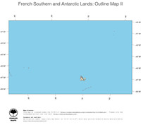 #2 Map French Southern and Antarctic Lands: political country borders and capital (outline map)