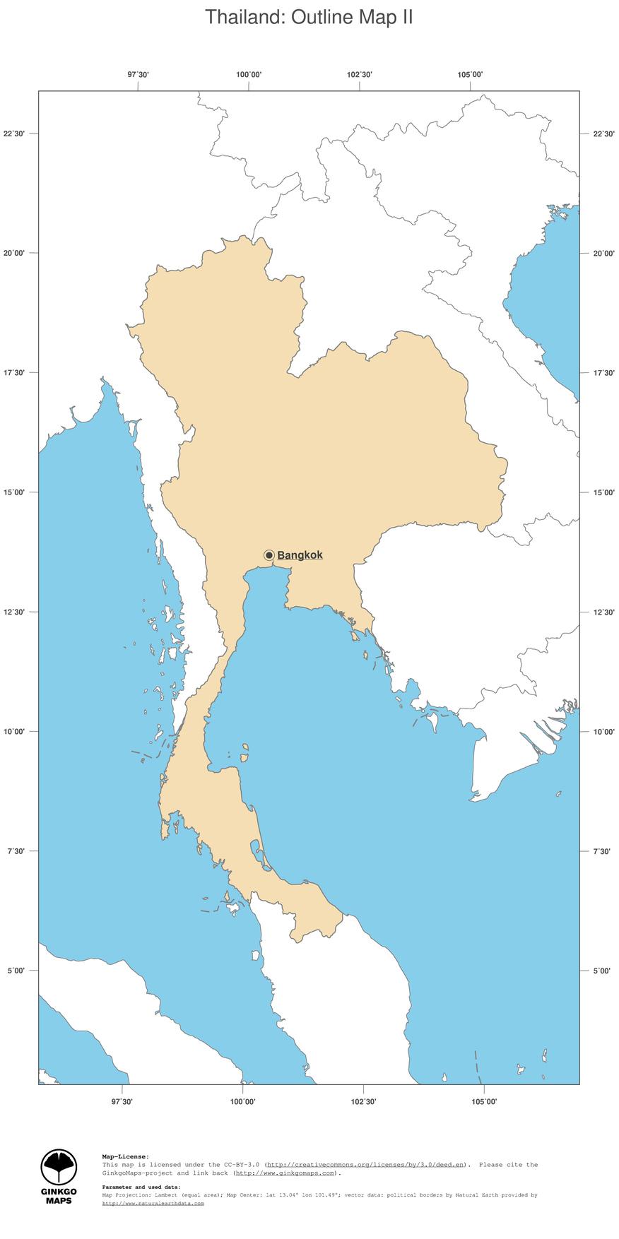 Map Thailand; GinkgoMaps continent: Asia; region: Thailand