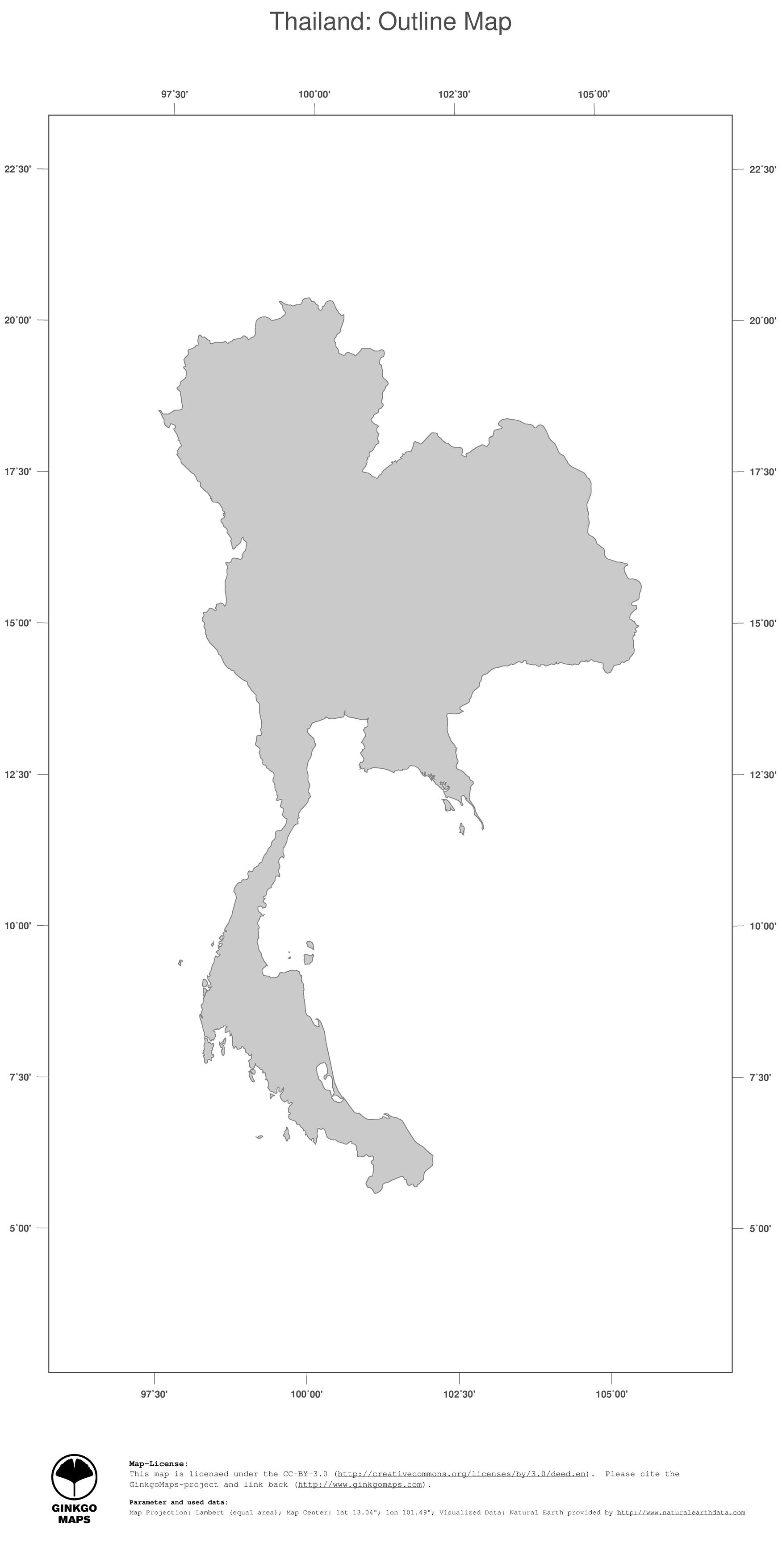 Map Thailand Ginkgomaps Continent Asia Region Thailand